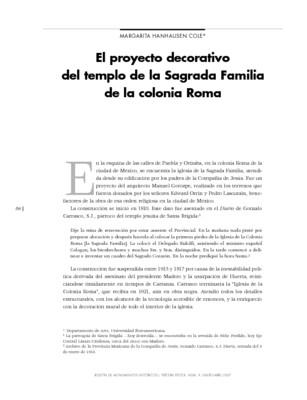 El proyecto decorativo del templo de La Sagrada Familia de la colonia Roma