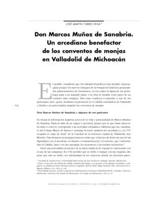 Don Marcos Muñoz de Sanabria. Un arcediano benefactor de los conventos de monjas en Valladolid de Michoacán