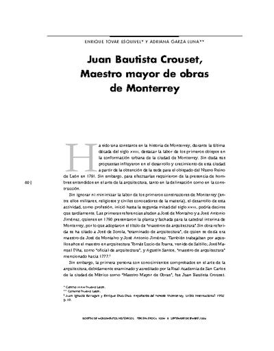 Juan Bautista Crouset, Maestro mayor de obras de Monterrey