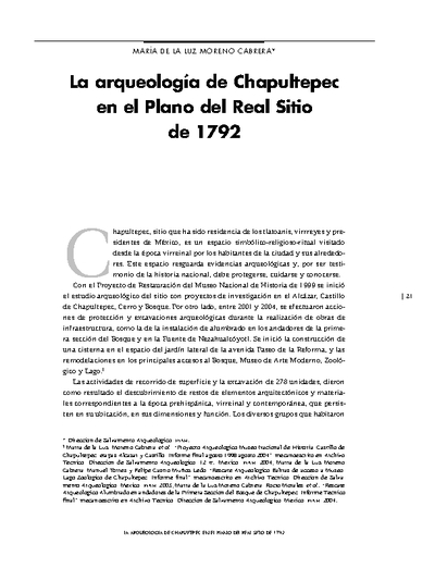 La arqueología de Chapultepec en el Plano del Real Sitio de 1792