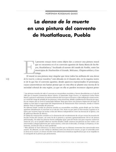 La danza de la muerte en una pintura del convento de Huatlatlauca, Puebla
