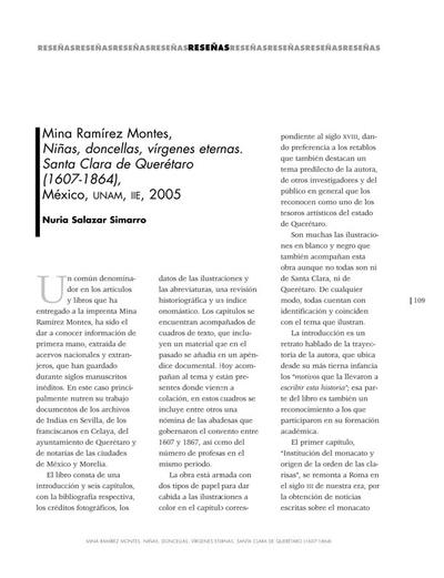 Mina Ramírez Montes, Niñas, doncellas, vírgenes eternas. Santa Clara de Querétaro (1607-1864)