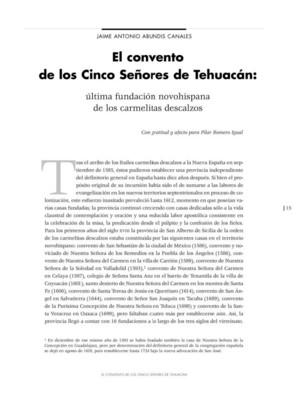 El Convento de los Cinco Señores de Tehuacán: última fundación novohispana de los carmelitas descalzos
