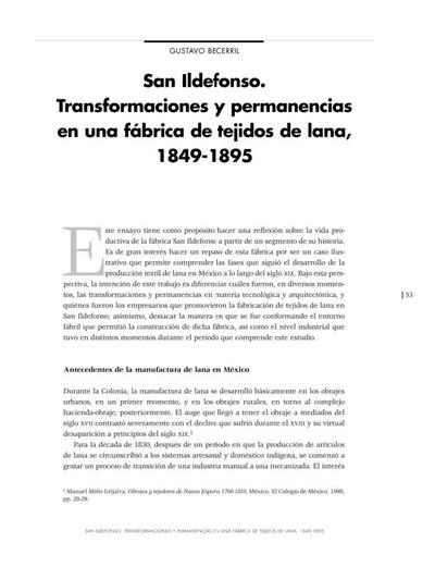San Ildefonso. Transformaciones y permanencias en una fábrica de tejidos de lana, 1849-1895