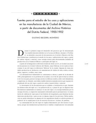 Fuentes para el estudio de los usos y aplicaciones en las manufacturas de la Ciudad de México, a partir de documentos del Archivo Histórico del Distrito Federal, 1900-1902