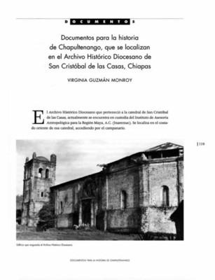 Documentos para la historia de Chapultenango, que se localizan en el Archivo Histórico Diocesano de San Cristóbal de las Casas, Chiapas