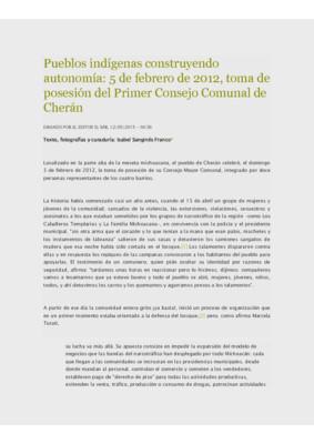 Pueblos indígenas construyendo autonomía: 5 de febrero de 2012, toma de posesión del Primer Consejo Comunal de Cherán