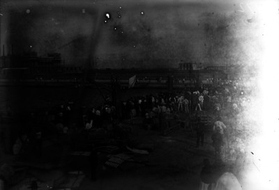 Trabajadores en el muelle del puerto de Veracruz