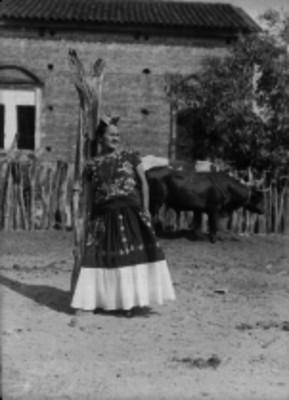 Tehuana recargada en un tronco, retrato