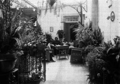 Familia en el jardín de una casa, retrato familiar