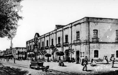 Vida cotidiana en una calle de la ciudad de México, reprografía de litografía