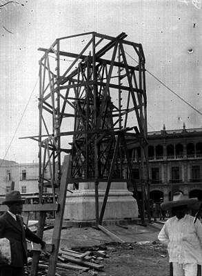 Construcción de la bese de la escultura de uno de los Pegaso