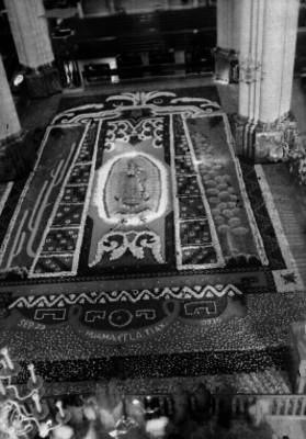 Imagen floral de la Virgen de Guadalupe