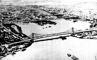 Puente colgante sobre el río Almendares