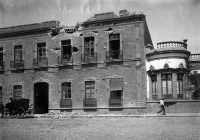 Casa dañada durante enfrentamiento de la Decena Trágica