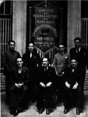 Miembros de la Unión de Trabajadores de Estudios Cinematográficos, retrato de grupo