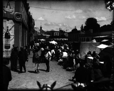 Vista de puestos de mercado en Atzcapotzalco