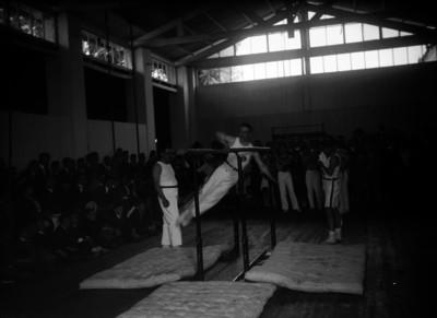 Gimnasta realiza ejercicios en las barras paralelas durante una competencia