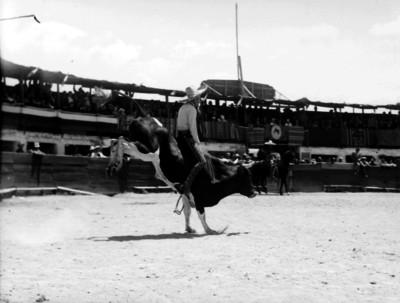 Charro jinetea a un toro