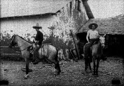 Hombres a caballo en un poblado