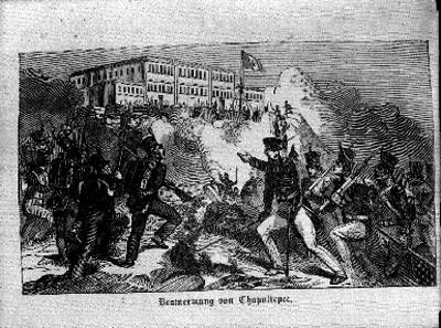 Batalla durante la invasiópn norteamericana al castillo de Chapu ltepec, grabado