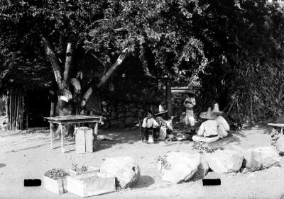 Campesinos comen en las Barrancas