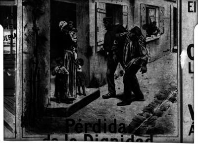 Caricatura que representa la pérdida de la dignidad de un alcohólico, reprografía