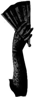 Brazo de dama con guante decorado y abánico