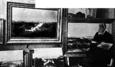 José María Velasco junto a sus cuadros, retrato