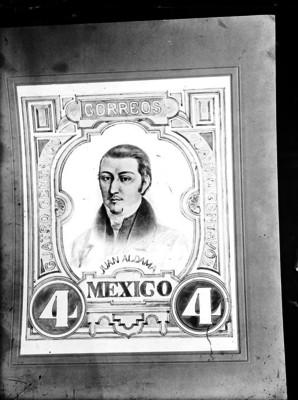 Timbre postal de cuatro centavos de Juan Aldama, litografía