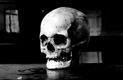 Cráneo humano sobre superficie polvosa