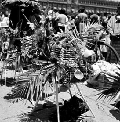 Mulña hecha con paja, madera, hojas de palma flores y adornada con figuras de barro