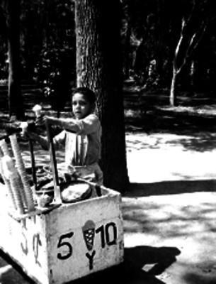 Niño vendiendo nieves en un parque