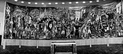 Mural realizado por Juan O'gorman, pintado en el museo de Chapultepec, alusivo a la Indepedencia de México