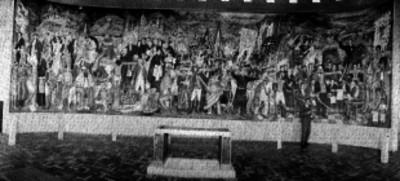 Mural de la Independencia y su autor Juan O'gorman en el museo de historia de Chapultepec