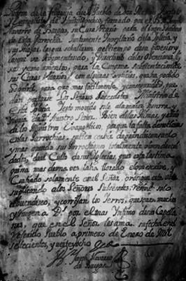Documento con datos del padron de la felioxecia del pueblo de San Matheo Apostol