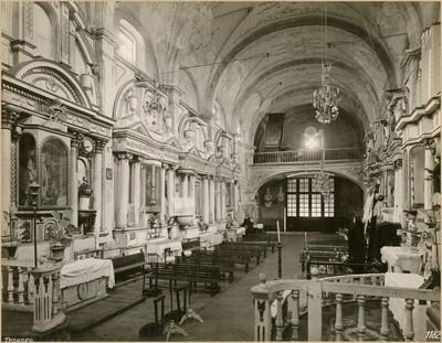 """Interior de la iglesia de la Asunción, """"vista hacia el coro"""""""