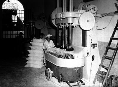Trabajadores llenando costales con harina en la instalaciones de una industria harinera en el estado de Jalisco