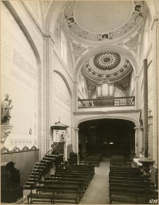 """Vista interior de la """"Iglesia de San Cosme"""", poniente a oriente"""