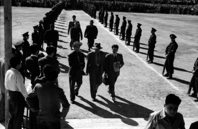 Funcionarios y dirigentes campesinos en una ceremonia de la Comisión Nacional Campesina