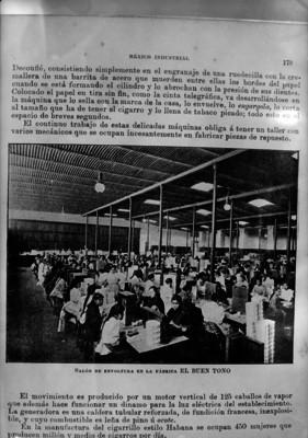 "Vista interior del salón de envoltura de cigarros ""El Buen Tono, S. A."", reprografía"