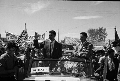Miguel Alemán Valdés durante una gira presidencial y la inauguración del Ferrocarril en Baja California
