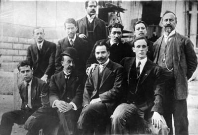 Ingenieros y constructores del Tearo Nacional, retrato de grupo