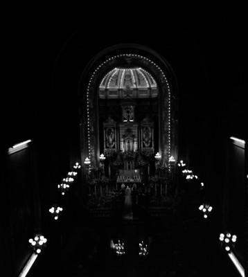 Ceremonia religiosa tomada desde el coro de la iglesia