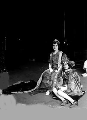 Joven vestida de reyna con un paje a sus pies, retrato
