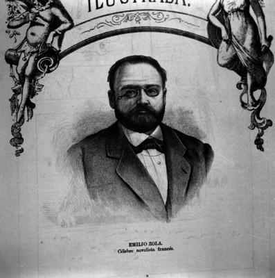 Emilio Zola; célebre novelista francés, retrato, grabado.