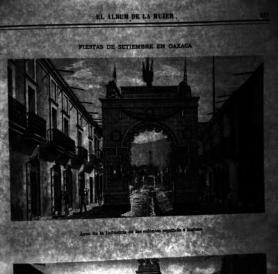 Arco de la industria de la Colonia española e Inglesa, grabado