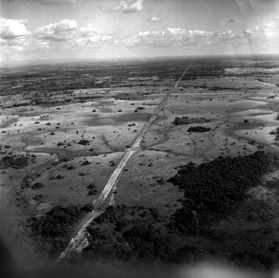 Carretera en llanuras del estado de Veracruz, vista aérea