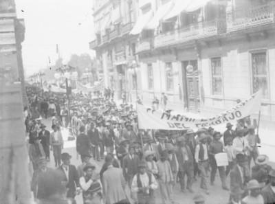 Mitin de trabajadores en la avenida Madero