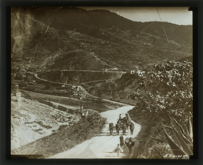 Hombres con animales de carga transitan por el camino de Santa Ana